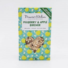 Mulberry and apple bircher...